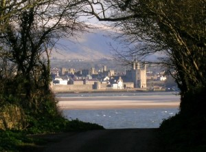 Caernarfon Castle from Tal y Foel Anglesey Coastal Path Route